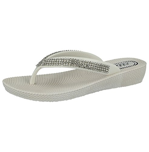 Ladies ELLA S1 Diamante Toe Post Flat Low Wedge Jelly Flip Flop Summer  Sandals Size 3