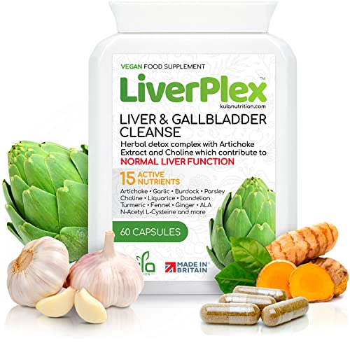 Liver Cleanse Support Supplement - 60 Capsules - Powerful Herbal Liver & Gallbladder Detox Formula with Artichoke, Garlic, Burdock Root, Parsley Leaf, Beetroot, Liquorice Root, Fennel Seed, Turmeric, Ginger, Dandelion, Choline and more. Kula Nutrition - Made in the UK to GMP - Suitable for Vegetarians. from Elle Belle UK