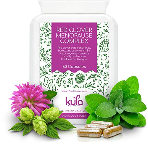 Kula Nutrition - Herbal Menopause Support - 60 Capsules - Natural Vegan Supplement with Vitamins and Minerals - Soya Isoflavones, Red Clover, Sage Leaf, Ginseng, Wild Yam, Hops, Vit B6, Zinc and more. from Kula Nutrition