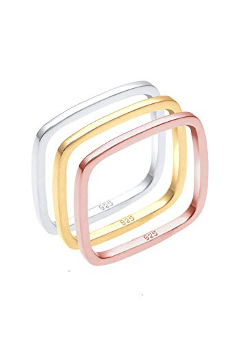 Elli Women's 925 Sterling Silver Gold and Rose Gold Plated Tricolour Xilion Cut Square Ring Set, Size P from Elli