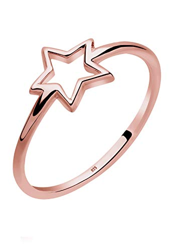 Elli Women's 925 Sterling Silver Rose Gold Plated Star Ring, Size N from Elli