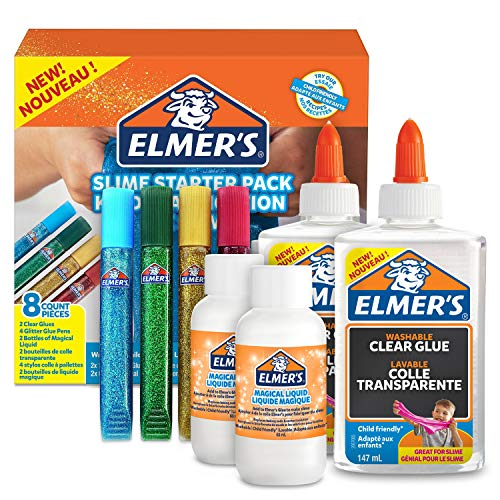 Elmer's Glue Slime Starter Kit, Clear Glue, Glitter Glue Pens and Magical Liquid Slime Activator Solution, Count of 8 from ELMER'S