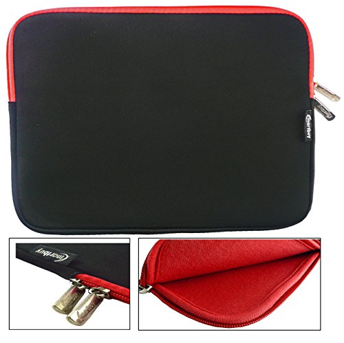 Emartbuy® Black/Red Water Resistant Neoprene Soft Zip Case Cover Sleeve With Red Interior & Zip suitable for Lenovo Yoga 510 2 in 1 Laptop 14 Inch (13-14 Inch Notebook) from Emartbuy