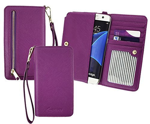 Emartbuy® Purple Premium PU Leather Clutch Purse Folio Pouch Sleeve (Size 3XL) With Coin Pocket, Card Slots & Detachable Wrist Strap Suitable For Wileyfox Spark 4G Dual Sim from Emartbuy