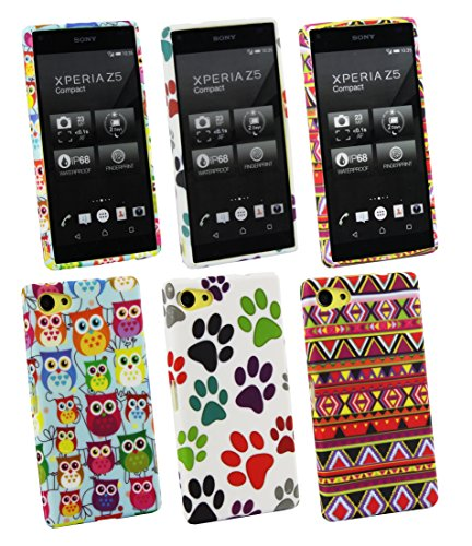 Emartbuy Paws, Owls and Aztec Gel Skin Case Cover for Sony Xperia Z5 Compact (Pack of 3) from Emartbuy
