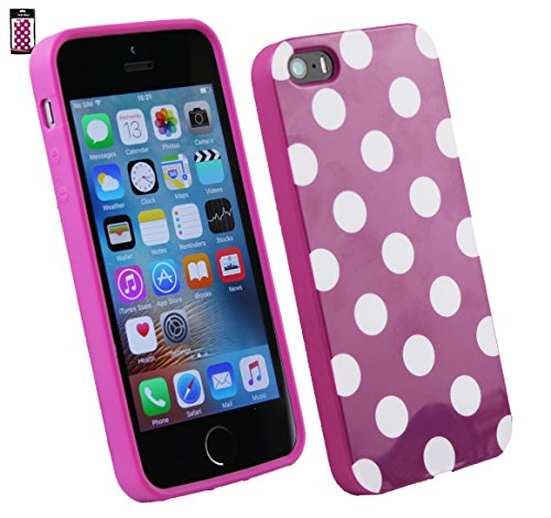 Emartbuy Polka Dots Gel Skin Case Cover for Apple iPhone SE - Purple/White from Emartbuy