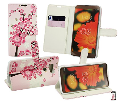 Emartbuy® LG G5 Premium PU Leather Desktop Stand Wallet Case Cover Pouch Pink Blossom with Credit Card Slots from Emartbuy