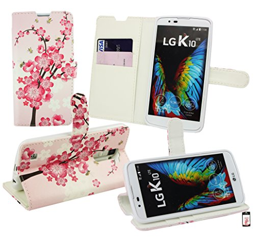 Emartbuy® LG K10 (2016) Premium PU Leather Desktop Stand Wallet Case Cover Pouch Pink Blossom with Credit Card Slots from Emartbuy