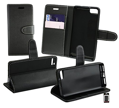 Emartbuy® bq Aquaris M4.5 Premium PU Leather Desktop Stand Wallet Case Cover Pouch Black with Credit Card Slots from Emartbuy