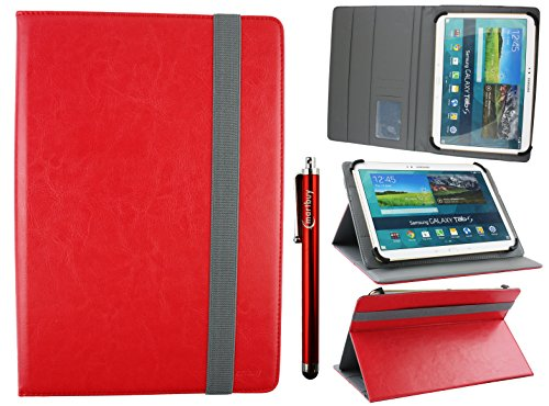 Emartbuy Universal 10-11 Inch Red Multi Angle Folio Wallet Case Cover With Card Slots Grey Elastic Strap and Stylus Pen Compatible With Selected Devices Listed Below from Emartbuy