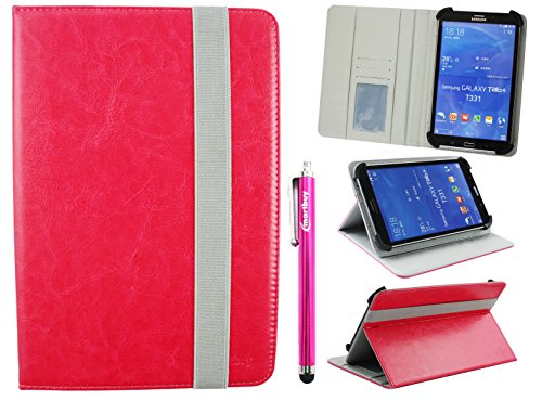 Emartbuy Universal 7-8 Inch Hot Pink Multi Angle Folio Wallet Case Cover With Card Slots Grey Elastic Strap and Stylus Pen Compatible With Selected Devices Listed Below from Emartbuy