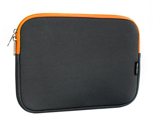 Emartbuy Dark Grey/Orange Water Resistant Neoprene Soft Zip Case Cover Sleeve With Orange Interior and Zipper 11-12 Inch Compatible With Selected Devices Listed Below from Emartbuy