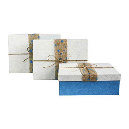 Emartbuy Set of 3 Rigid Luxury Rectangle Presentation Gift Box, Blue Box with White Lid, Chocolate Brown Interior and Dotted Jute Decorative Ribbon from Emartbuy