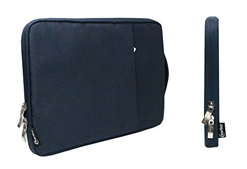 Emartbuy Universal 13.3-14.0 Inch Denim Dark Blue Carrying Bag Case Cover Sleeve with Retractable Handle and Zipped Pocket Compatible With Selected Laptops Notebooks Ultrabooks Listed Below from Emartbuy