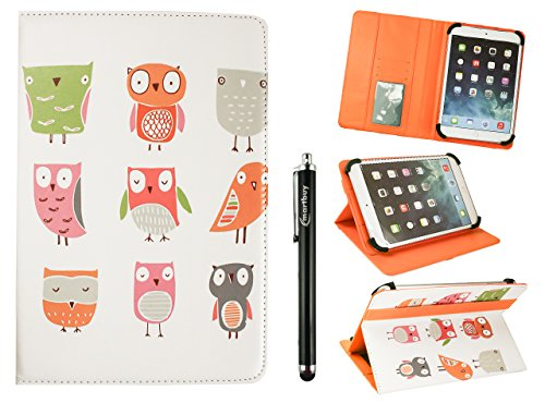 Emartbuy Universal 7-8 Inch Cartoon Owls Multi Angle Folio Wallet Case Cover With Card Slots Orange Elastic Strap and Stylus Pen Compatible With Selected Devices Listed Below from Emartbuy
