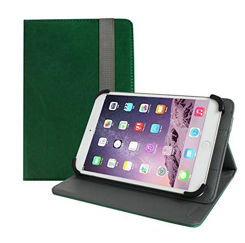 Emartbuy Universal 7 Inch - 8 Inch Shiny Green Multi Angle Folio Wallet Case Cover With Card Slots and Stylus Pen Compatible With Selected Devices Listed Below from Emartbuy