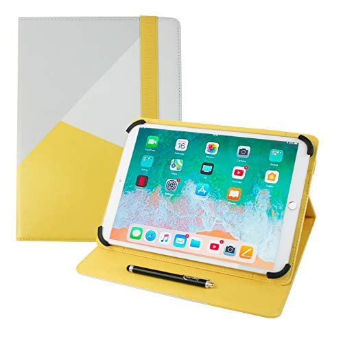 Emartbuy Universal 9.1 Inch - 10.1 Inch Grey Yellow Multi Angle Folio Wallet Case Cover With Card Slots and Stylus Pen Compatible With Selected Devices Listed Below from Emartbuy
