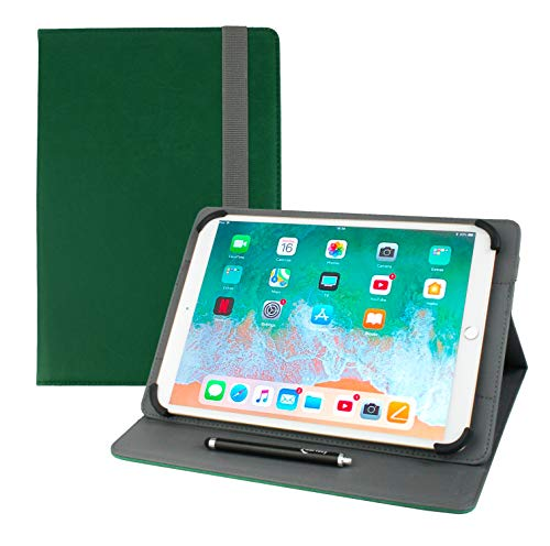 Emartbuy Universal 9.7 Inch - 10.8 Inch Shiny Green Multi Angle Folio Wallet Case Cover With Card Slots and Stylus Pen Compatible With Selected Devices Listed Below from Emartbuy