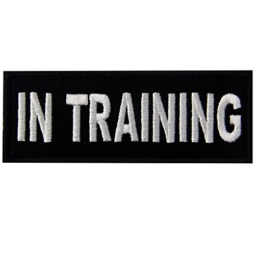 in Training Service Animal Vests/Harnesses Emblem Embroidered Fastener Hook & Loop Patch, 4 X 1.5 Inch from EmbTao