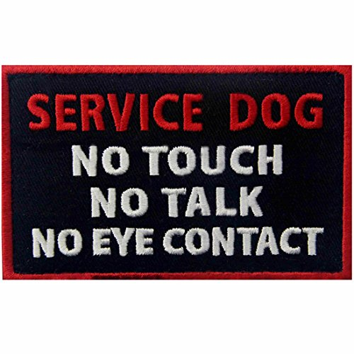 Service Dog No Touch No Talk No Eye Contact Vests/Harnesses Emblem Embroidered Fastener Hook & Loop Patch from EmbTao