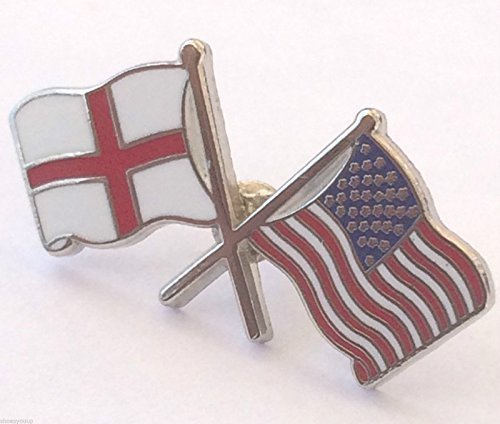 ENGLAND ST GEORGE & USA FRIENDSHIP FLAGS ENAMEL LAPEL PIN BADGE from Emblems-Gifts