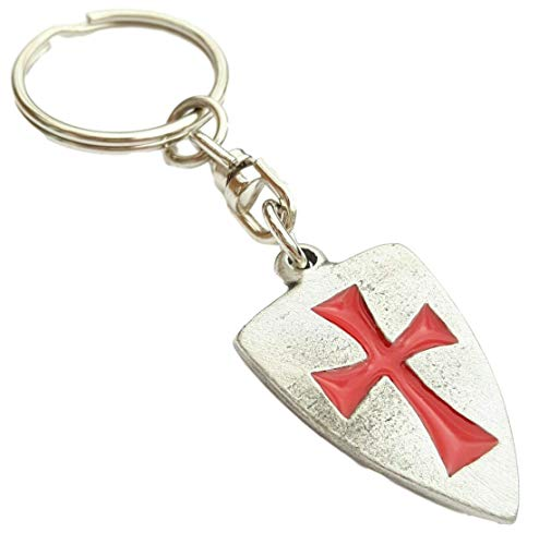 Emblems-Gifts Masonic Knights Templar Shield Handcrafted English Pewter Key Ring + 59mm button badge + gift bag from Emblems-Gifts