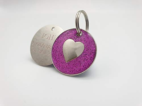Personalised DOG CAT LOVE HEART PINK Glitter Identity ID Pet Tag Engraved from Emblems-Gifts