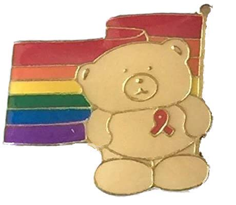 Rainbow LGBT Gay Pride Bear Wearing Red Ribbon Pin Badge - GOLD plated from Emblems-Gifts
