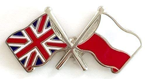 UNION JACK & POLAND FRIENDSHIP NATIONAL FLAGS DOUBLE ENAMEL LAPEL PIN BADGE from Emblems-Gifts