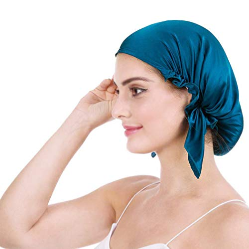 Emmet 100% Mulberry Silk Night Sleep Cap Bonnet for Hair Loss Women Sleeping Hat 19 Momme Soft with Adjustable Elastic Ribbon (Free Size, Peacock Blue Color) from Emmet