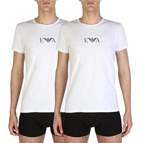 Emporio Armani Men's Knit Brief B T-Shirt, White-Blanc (Bianco), Small (Pack of 2) from Emporio Armani