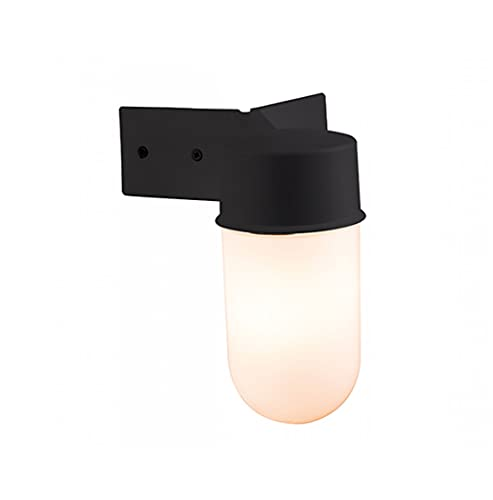Endon Outdoor Corner Angled Wall Light (Black Finish, Frosted Glass Shade, Max 40w ES, Screw Cap Light Bulb Required, EL-40088) from Endon