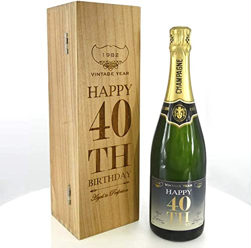 Unique Personalised 40th Birthday Gift For Him or Her - 1x Personalised 75cl Bottle of Champagne Presented in A Luxury Personalised Wooden Box [CHAM003] from English Pewter Company Sheffield, England