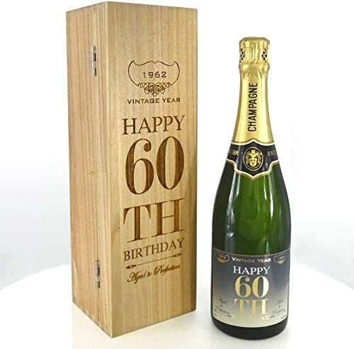 Unique Personalised 60th Birthday Gift For Him or Her - 1x Personalised 75cl Bottle of Champagne Presented in A Luxury Personalised Wooden Box [CHAM005] from English Pewter Company Sheffield, England