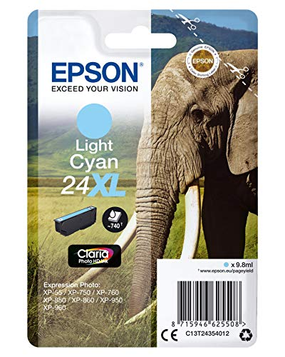 Epson 24XL Light Cyan Elephant High Yield Genuine, Claria Photo HD Ink Cartridge, Amazon Dash Replenishment Ready from Epson