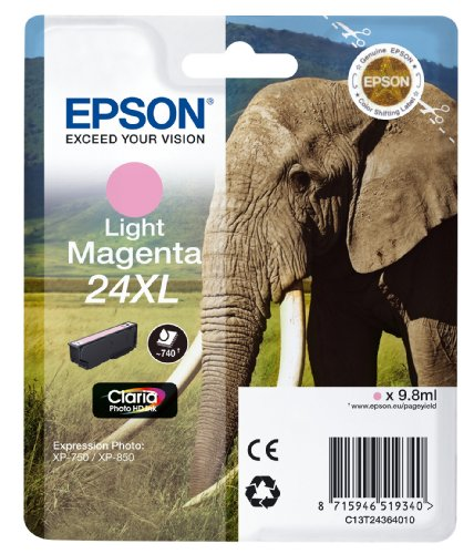 Epson C13T24364012 24 XL Series Elephant Ink Cartridge, Light Magenta, Genuine from Epson