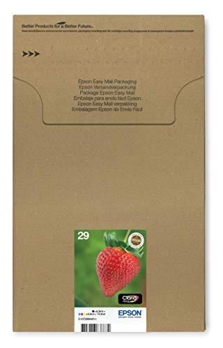 Epson 29 Strawberry Genuine Multipack, Eco-Friendly Packaging, 4-colours Ink Cartridges, Claria Home Ink, Amazon Dash Replenishment Ready from Epson