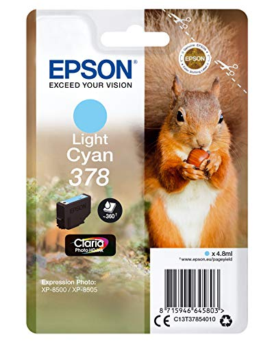 Epson 378 Light Cyan Squirrel Genuine, Claria Photo HD Ink Cartridge, Amazon Dash Replenishment Ready from Epson