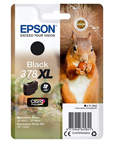 Epson 378XL Black Squirrel High Yield Genuine, Claria Photo HD Ink Cartridge, Amazon Dash Replenishment Ready from Epson