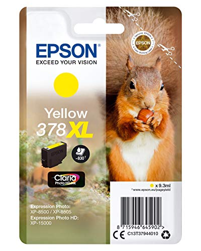 Epson 378XL Yellow Squirrel High Yield Genuine, Claria Photo HD Ink Cartridge, Amazon Dash Replenishment Ready from Epson