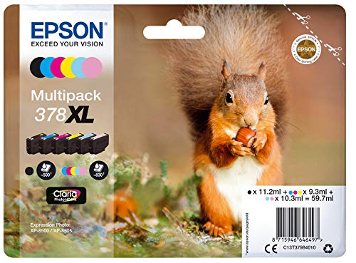 Epson 378XL Squirrel High Yield Genuine Multipack, 6-colours Ink Cartridges, Claria Photo HD Ink, Amazon Dash Replenishment Ready from Epson