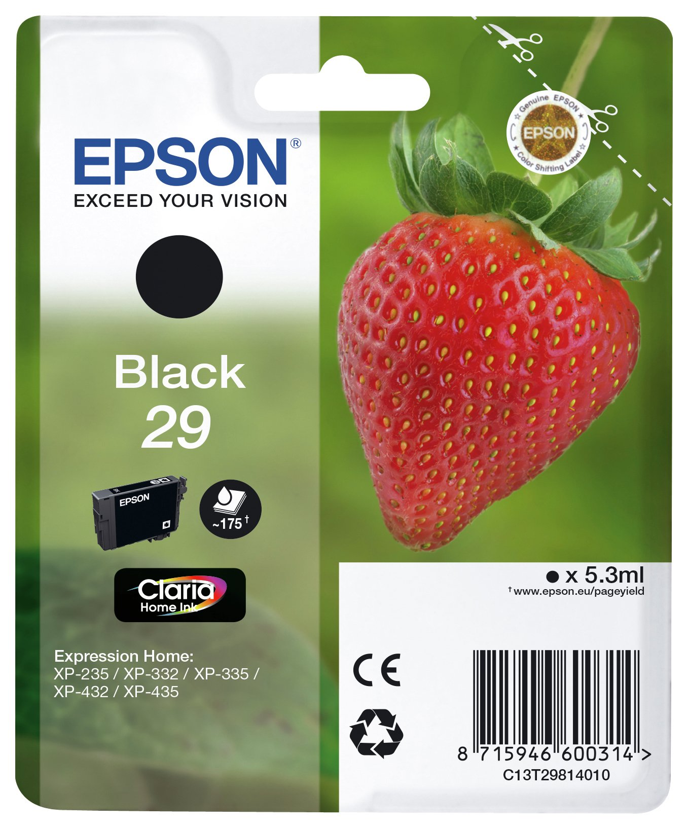 Epson Strawberry 29 Black Ink Cartridge from Epson
