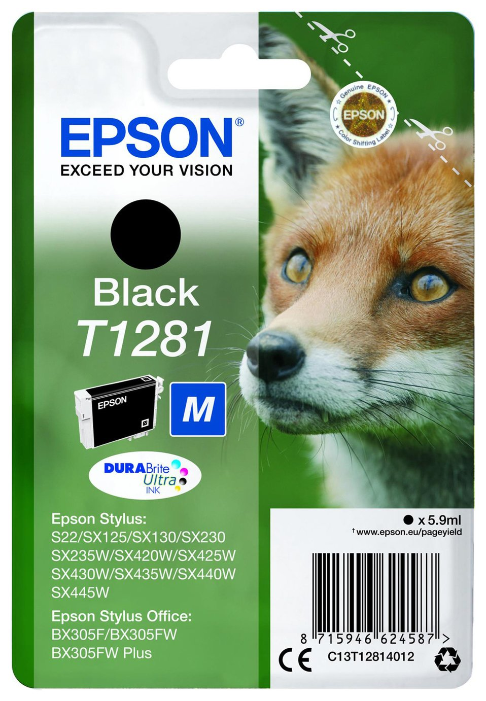 Epson Fox T1281 Black Ink Cartridge from Epson
