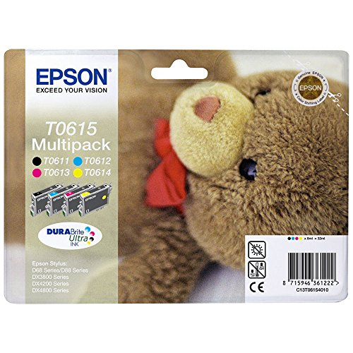 Epson Original C13T06154010 Black and Colour Multipack Ink Cartridges (4 DuraBrite Ultra Inks - T0611 Black, T0612 Cyan, T0613 Magenta, T0614 Yellow) from Epson