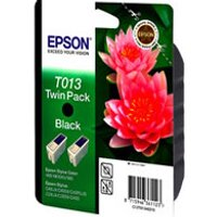 Epson T013 (T013402) Black Original Ink Cartridge Twin Pack (Pink Flower) from Epson