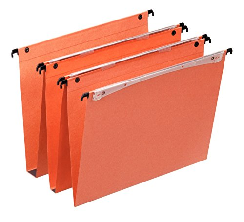 Esselte Dual Vertical Suspension Files, A4, V-Base, Pack of 25 Connectable Files, Tabs Included, Orange, Orgarex Range, 21631 from Esselte