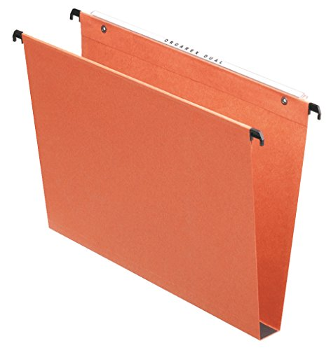 Esselte Kori Vertical Suspension File, Squared Base, Foolscap, Pack of 50 Connectable Files, Tabs Included, Orange, Orgarex Range, 10403 from Esselte