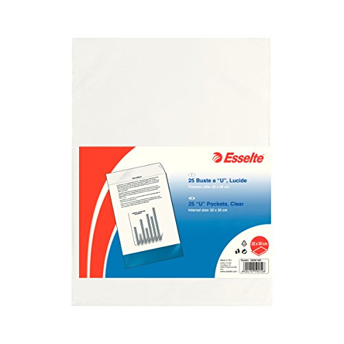 Esselte U Pocket Folders Polished, Folio in PP Clear 22x30 Transparent from Esselte