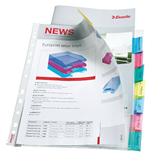 Esselte Index Punched Pocket with 8 Tabs, Holds up to 30 A4 sheets, Transparent, 130 Micron PP Material, 414150 from Esselte