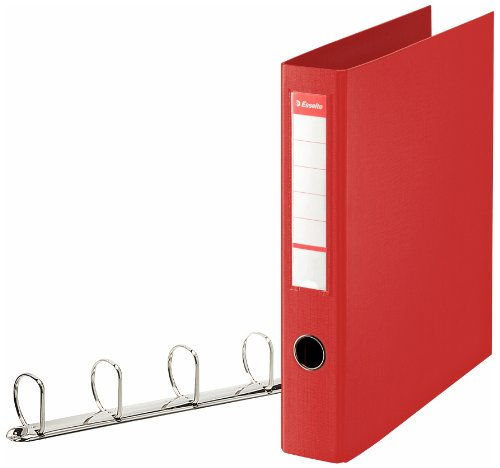 Esselte 4 Ring Binder, PP, Holds up to 380 Sheets, 60 mm Spine, 82403 - A4, Red from Esselte
